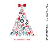 christmas tree with bow | Shutterstock .eps vector #1246966762