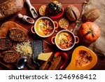 traditional pumpkin cream soup... | Shutterstock . vector #1246968412