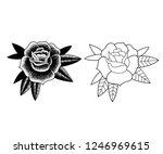 black and white rose | Shutterstock .eps vector #1246969615