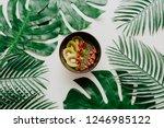 fresh avocado and kiwi smoothie ... | Shutterstock . vector #1246985122