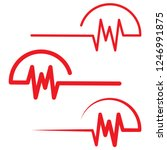 red heartbeat icons in flat... | Shutterstock .eps vector #1246991875