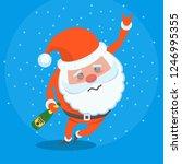 drunk miserable tired santa... | Shutterstock .eps vector #1246995355