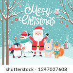 cute characters hugging   santa ... | Shutterstock .eps vector #1247027608