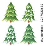 collection of green spruce... | Shutterstock .eps vector #1247033692