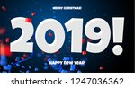 2019 happy new year red  blue... | Shutterstock .eps vector #1247036362