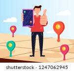 man consumer character holding... | Shutterstock .eps vector #1247062945