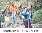 group of friends with backpacks ... | Shutterstock . vector #1247073145