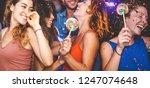 happy friends doing party... | Shutterstock . vector #1247074648