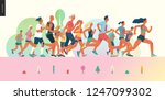 marathon race group   flat... | Shutterstock .eps vector #1247099302