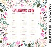 calendar 2019. floral calendar... | Shutterstock .eps vector #1247100508