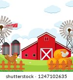 flat rural farmland background... | Shutterstock .eps vector #1247102635