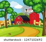 a green farmland landscape... | Shutterstock .eps vector #1247102692