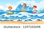 surfer on surf holiday... | Shutterstock .eps vector #1247102698