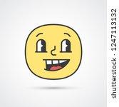 sly smile emoji with big eyes.... | Shutterstock .eps vector #1247113132