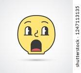 surprised smile emoji with big... | Shutterstock .eps vector #1247113135
