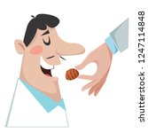 feeding men with chocolate. the ... | Shutterstock .eps vector #1247114848