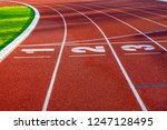 red running track for athletics ... | Shutterstock . vector #1247128495