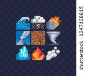 cataclysm icons set. pixel art... | Shutterstock .eps vector #1247138815