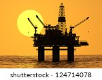 image of oil platform during... | Shutterstock . vector #124714078