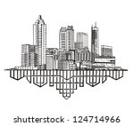 Atlanta, GA Skyline. Black and white vector illustration EPS 8.