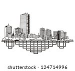 Stock vector boston ma skyline black and white vector illustration eps 124714996