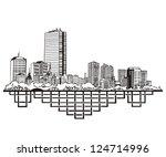 Stock vector boston ma skyline black and white vector illustration eps 124714996