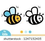 coloring book for children  bee | Shutterstock .eps vector #1247152435