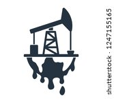 pumpjack and earth drip and... | Shutterstock .eps vector #1247155165
