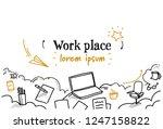 business work desktop laptop...   Shutterstock .eps vector #1247158822