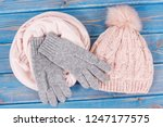 woolen womanly gloves  cap and... | Shutterstock . vector #1247177575