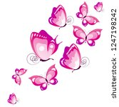 beautiful pink butterflies ...   Shutterstock .eps vector #1247198242
