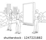 people standing and looking... | Shutterstock .eps vector #1247221882