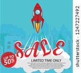 rocket ship in a flat style.... | Shutterstock .eps vector #1247227492