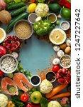 frame of set healthy food ... | Shutterstock . vector #1247227642