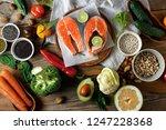 top view set healthy food for... | Shutterstock . vector #1247228368