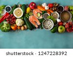 flat lay healthy and diet food  ... | Shutterstock . vector #1247228392