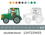 coloring book with a contour... | Shutterstock .eps vector #1247229655