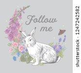 white rabbit. flower wreath.... | Shutterstock .eps vector #1247242582
