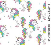 seamless pattern with unicorns...   Shutterstock .eps vector #1247251045