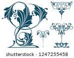 vector plant vignette for... | Shutterstock .eps vector #1247255458