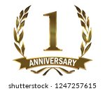first anniversary logo of... | Shutterstock . vector #1247257615