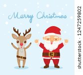santa claus and the reindeer... | Shutterstock .eps vector #1247259802