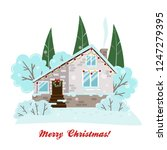 vector christmas card with a... | Shutterstock .eps vector #1247279395