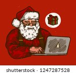 santa claus with computer... | Shutterstock .eps vector #1247287528