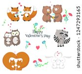 cute romantic animals couples.... | Shutterstock .eps vector #1247293165