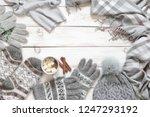 warm grey woolen knitwear ...   Shutterstock . vector #1247293192
