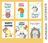 vector set of greeting cards... | Shutterstock .eps vector #1247295475