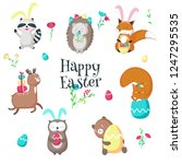 easter animals. vector... | Shutterstock .eps vector #1247295535