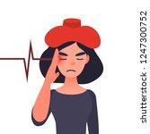 migraine ill or headache... | Shutterstock . vector #1247300752