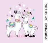 cute two llamas  hearts and the ... | Shutterstock .eps vector #1247311282